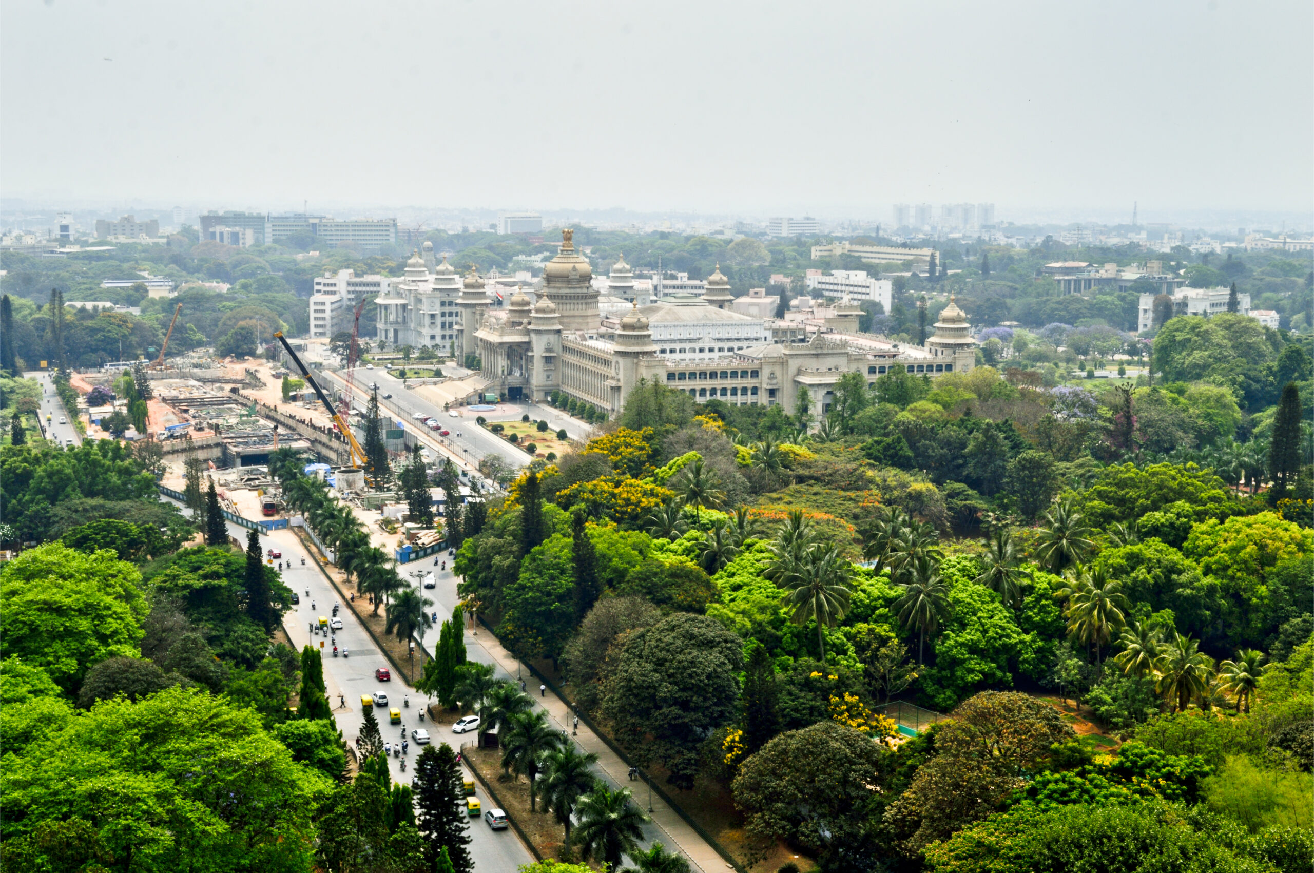 Bangalore city Aerial view with vidhansoudha coverd with trees